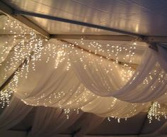 Winter wedding decor - Sheer white drapes with fairy lights Icicle Lights, Fairy Lights, Twinkle Lights, String Lights, Tulle Lights, Canopy Lights, Light Canopy, Hanging Lights, Twinkle Twinkle