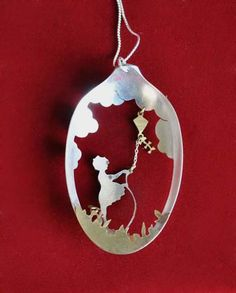 #silver #spoon #bowl #cut with #jewelry #saw to create #silhouette #design - lovely #pendant - #upcycle #repurpose #girl #kite #necklace #crafts - ≈√