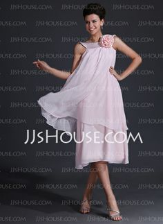 Bridesmaid Dresses - $106.99 - A-Line/Princess Scoop Neck Tea-Length Chiffon Charmeuse Bridesmaid Dress With Flower(s) (007017320) http://jjshouse.com/A-Line-Princess-Scoop-Neck-Tea-Length-Chiffon-Charmeuse-Bridesmaid-Dress-With-Flower-S-007017320-g17320