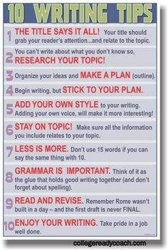 10 Writing Tips! For all kinds of students and authors. No. 10 is great--Enjoy writing it! #education #writing