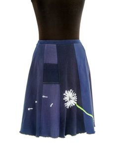 T-Skirt Upcycled recycled appliqué navy blue by sardineclothing