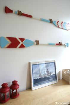 DIY rame pagaie bois canot peinte à la main couleur bleu blanc rouge / DIY painted canoe paddles