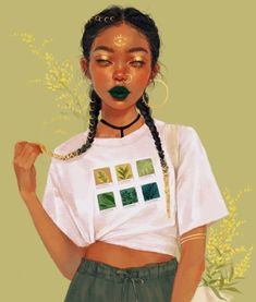 Her name is Goldenrod, and she's a plant witch with a gift for divination. Inspired by a shirt design from as you can see in the last photo where I tried to recreate this outfit. Complete credit to them for the Plantone idea. Black Girl Art, Black Women Art, Black Girl Magic, Art Girl, Art Magique, Black Art Pictures, Arte Sketchbook, Afro Art, Magic Art