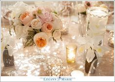 Low Blush, Peach, Ivory and Champagne Wedding Centerpiece with orchids, peonies, juliet garden roses, hydrangeas, ranunculus, mixed metals, japhet orchids, pieris japonica, hellebores, sequin linen: Omni William Penn Showcase- Floral by Mocha Rose, Pittsburgh. Photography by http://www.leeannmariephotography.com