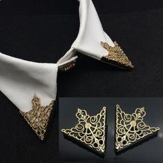 Lestat Collar Tips by AgataKristie on Etsy Jewelry Accessories, Fashion Accessories, Fashion Jewelry, Jewelry Design, Man Jewelry, Silver Jewelry, Silver Ring, Body Jewelry, Rhinestone Jewelry