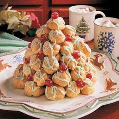 Cream Puff Christmas Tree:  I've been cooking up a Cream Puff Christmas Tree regularly for almost 50 years now, and it always receives the same enthusiastic reaction from friends and family.