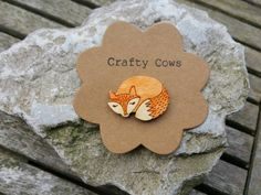 Sleeping fox brooch - handpainted woodland animal fox badge jewellery fox accessories