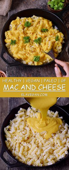 Healthy #vegan Mac and Cheese with zoodles (zucchini noodles) or regular pasta. This #macandcheese recipe is #glutenfree, #paleo friendly, #plantbased, low-carb and easy to make. The perfect plant-based #lunch or #dinner