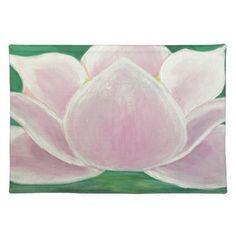 Lotus Flower Painting Cloth Placemat - flowers floral flower design unique style