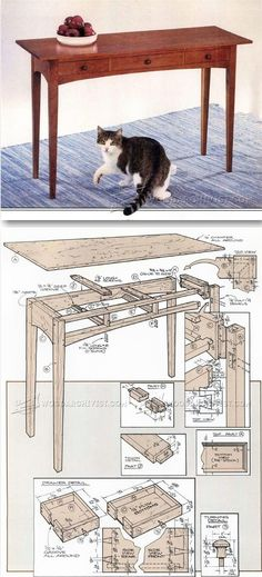Build Hall Table - Furniture Plans and Projects - Woodwork, Woodworking, Woodworking Plans, Woodworking Projects Outdoor Furniture Plans, Woodworking Furniture Plans, Woodworking Bench, Fine Woodworking, Diy Wood Projects, Furniture Projects, Furniture Making, Wood Crafts, Shaker Furniture