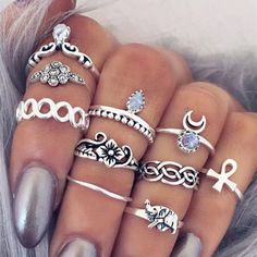 2016 New Steampunk Vintage Knuckle Rings Tribal Midi Finger Ring Stone Joint Ring Set For Women Anel Feminino Bijoux Ring Ring, Ring Set, Cute Jewelry, Jewelry Rings, Jewelry Accessories, Jewlery, Silver Jewelry, Silver Rings, Cheap Jewelry