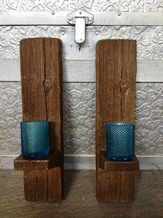rustic wood wall candle holders by on etsy