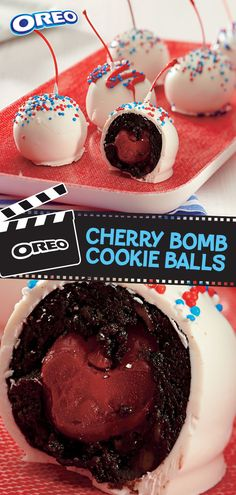 Bring the red, white and OREO to any gathering this summer when you break out these OREO-Cherry Bomb Cookie Balls. Our take on a chocolate-dipped. 4th Of July Desserts, Köstliche Desserts, Delicious Desserts, Yummy Food, Tasty, Candy Recipes, Sweet Recipes, Cookie Recipes, Baking Recipes