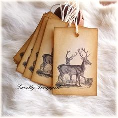 Deer In Forest Tags ..... Winter Christmas by SweetlyScrappedArt