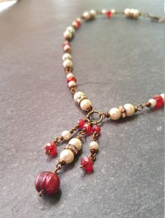 Vintage Inspired Ivory Pearl Beaded Necklace, Ivory Pearl and Red Glass Bead Wire Wrapped Necklace, Brass Wire Wrapped Necklace by NCArtistry on Etsy