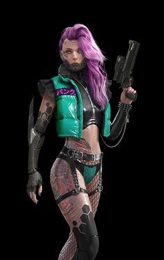 Cyberpunk female killer - ART by DaoDao Mao - Cyberpunk 2077, Cyberpunk Girl, Arte Cyberpunk, Cyberpunk Fashion, Cyberpunk Tattoo, Steampunk Fashion, Gothic Fashion, Female Character Design, Character Design Inspiration