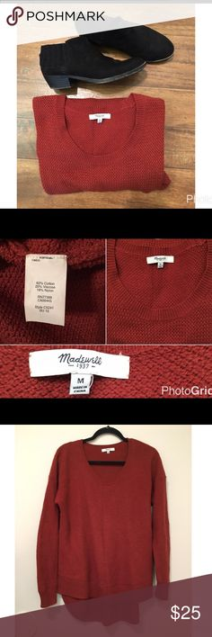 Madewell Chronicle texture pullover sweater Pre owned sweater in good condition- has minor piling from normal wear. Size Medium. Last picture is from the Madewell website to show how to wear and to give a description - it is not the actual color of the sweater- the color of the sweater is in the first 3 pictures. Madewell Sweaters