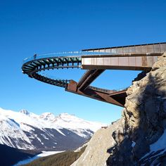This vertiginous viewing platform in the Canadian Rockies was designed by Calgary firm Sturgess Architecture with a strengthened glass floor that provides a view straight down to the valley below.