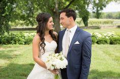 Radebaugh/Betancourt Wedding - Remnant Fellowship Weddings Summer wedding, bride and groom photo ideas, navy suit, strapless wedding dress, white bouquet