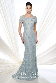 Brides.com: . Style 215D03, lace fit and flare gown with short sleeves, bateau neckline, and sweeping train, price upon request, The Ivonne D Collection for Montage by Mon Cheri