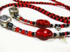 Beaded Eyewear Lanyard Handmade with Red and by TheTwistedRedhead, $24.00