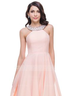 A-Line/Princess Scoop Neck Floor-Length Beading Zipper Up Regular Straps Sleeveless No Pearl Pink Spring Summer Fall General Plus Chiffon Prom Dress