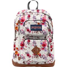 JanSport Austin Backpack - Floral Memory - School Backpacks ($45) ❤ liked on Polyvore featuring bags, backpacks, white, white floral backpack, jansport backpack, floral backpack, fake leather backpack and faux leather backpack