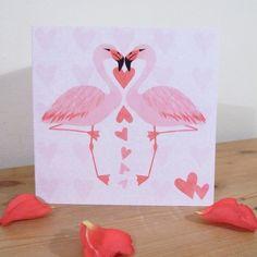 Flamingo Love Illustrated Valentine's Card - £3.00