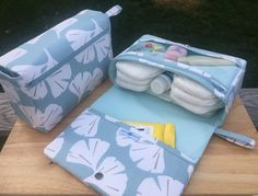 Ginkgo leaf diaper bag organizer, new parents gift, diaper clutch, nappy bag with clear zipper pouch