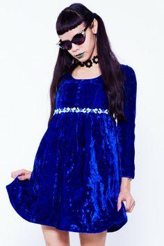 Blue Velvet Babydoll Dress - XS/S