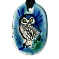 Owl Ceramic Necklace in BlueGreen by surly on Etsy, $18.00