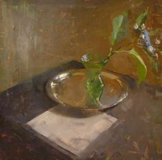 Jon Redmond, 71 Lime Rock with Martini Glass, 2012, oil on Mylar mounted on panel, 17 x 17 inches