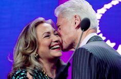 Hillary Rodham Clinton is kissed by her husband, former U.S. President Bill Clinton, as he welcomes her to the podium at the Clinton Global Initiative (Sheraton Midtown Hotel in New York on Sept. 24, 2012)    http://www.theworldofhillaryclinton.com/2012/09/hillary-clinton-designing-diplomacy-for.html
