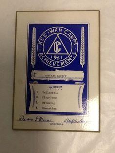 Kee Wah Camps New York We Ke Achievements Award 1961 Summer Sports Plaque