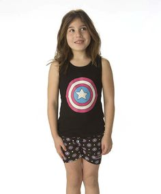 Love this Black & Blue Captain America Tank & Shorts - Girls by Captain America on #zulily! #zulilyfinds