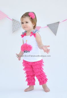 Birthday Outfit Baby Toddler Girls First 2nd 3rd Zebra Fuchsia Cupcake With Lace Petti Pants Or Shorts 3999 Via Etsy