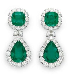 A PAIR OF EMERALD AND DIAMOND EAR PENDANTS – Christie's