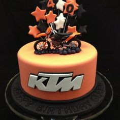 KTM motorbike cake Learn how to create your own amazing cakes: www.mycakedecorating.co.za #cake #baking