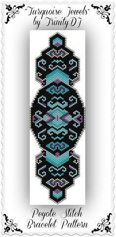 "New pattern listed: ""Turquoise Jewels"" - Shaped Peyote stitch, one of a kind, bracelet pattern. Please follow this link for more info: https://www.etsy.com/listing/172465564/bp-geo-018a-turquoise-jewels-shaped?ref=shop_home_active"