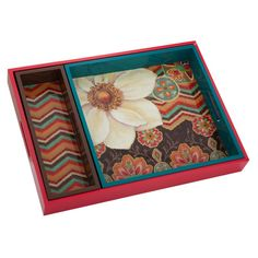 Arrange a cluster of candles in the living room or cosmetics on your master suite vanity with these whimsical nesting trays, showcasing a collage of floral, ...