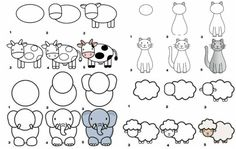 apprendre-dessiner-enfants-elephant-nuages-brebis-hat-vache