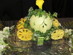 Hand Carved Cinderella Horse Carriage to be used as a fresh fruit platter centerpiece.