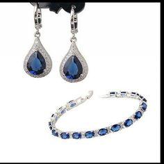 Bracelet and earrings set Blue stone bracelet+earrings set,cubic zirconia.new,in box.the size of bracelet can be adjusted. Jewelry Earrings