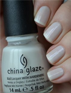 China Glaze Moonlight a beautiful milky white - can be built up to opaque.  Not streaky.  Perfect in 3 coats.
