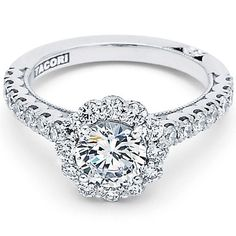 Tacori 18KWG Cresent Collection 1/2 Way Sculpted Semi Mount