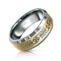 Unisex 8mm Comfort Fit Gold Modern Celtic Dragon Mens Tungsten Ring