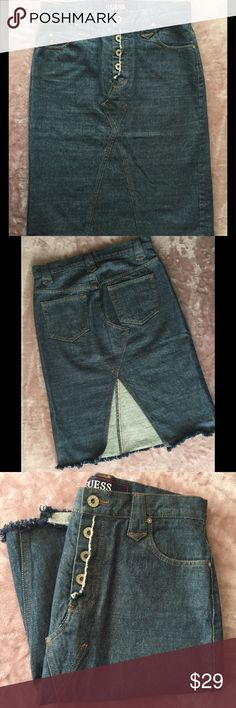 GUESS Button Fly Denim Pencil Skirt - Sz 26 Five pocket western styling  with silver tone 210eae822b1a6
