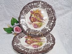 """Game Series (Birds) by Palissy Royal Worchester Luncheon Plate 9"""" Pheasant Brown  #Jewlwey #scarfs #body #Handmade #child #bath #baby #dresses #Soap #toddler"""