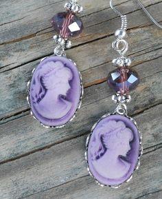 Cameo Earrings Purple Victorian Lady