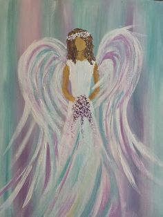 Sarah Angel by Berni Silcock Easy Canvas Painting, Easy Paintings, Painting & Drawing, Canvas Art, Angel Paintings, Angel Artwork, Angel Drawing, Angel Crafts, Angel Pictures